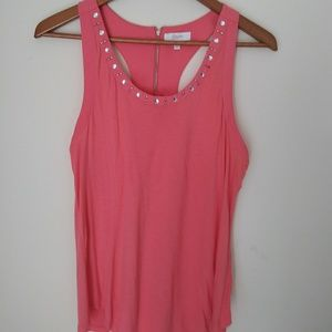 Candies XL Coral Tank top with diamond studs